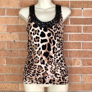 Cache Leopard beaded Shell size 8 sweater